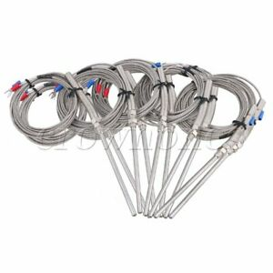 3 Meter Cable Stainless Steel 100mm Probe K Type Sensors Thermocouple Set Of 10