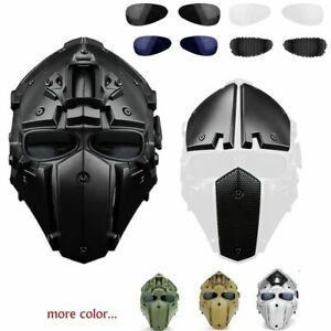 Full Face Hunting Protective Mask Tactical Airsoft Helmet w 4 Pairs Goggles BK $113.99