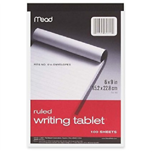 Mead Ruled Writing Tablet 100 Sheets 6 X 9
