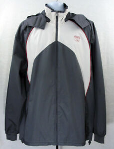Adidas Coca Cola Olympics 2012 Mens Large XL Hooded Gray Windbreaker Jacket