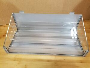 Set Of 2 Idx Acrylic metal Plexi Bin 3 Tier For Slat Wall For Small Inventory