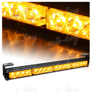 18 Led Amber Traffic Advisor Advising Emergency Warning Flash Strobe Light Bar