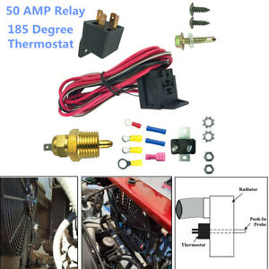 Electric Radiator Cooling Fan Wire Kit Complete Thermostat 50amp Relay 185 Bbc