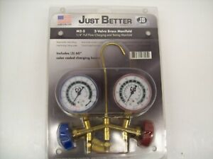 Jb 28005 01 M2 5 Professional Usa 2 valve Brass Manifold Ac Guages With 60 Hse