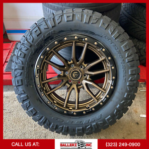 20x10 Fuel Rebel Offroad On 35x12 50r20 M t Tires Chevy Ford 6 Lug Fuel