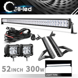 For 07 17 Jeep Wrangler Jk 52inch 1080w Led Light Bar 2x4 Work Cube Pods Wire