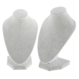 2x White Velvet Necklace Bust Display Shop Pendant Chain Jewelry Stand