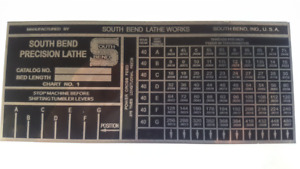 South Bend Lathe Plate Heavy 10 Threading Chart Tag 7 1 4 X 3 Brass Alum New