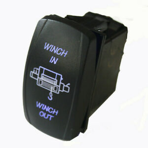 Marine Boat Winch Anchor Momentary Rocker Switch on off on 7 Pin Blue Led