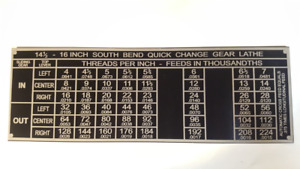 South Bend 14 1 2 16 Lathe Plate Threading Chart Tag 8 3 4 X 2 15 16 Alum