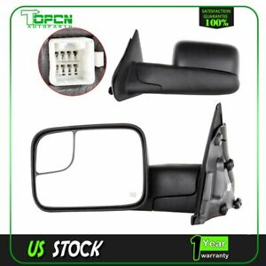 Towing Power Heated Mirrors For 02 08 Dodge Ram Truck Side View Mirror Pair Set