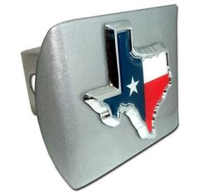 Texas State Shape With Color Brushed Chrome Hitch Cover Made In The Usa