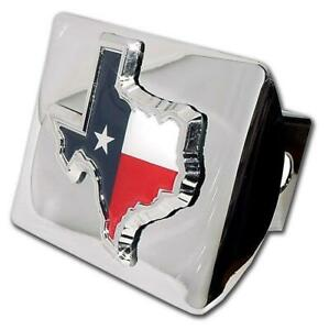 Texas State Shape With Color Shiny Chrome Hitch Cover Made In The Usa