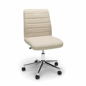 Mid back Armless Office Task Chair In Tan Fabric W Adjustable Height Swivel