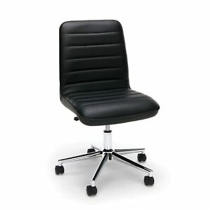 Mid back Armless Office Task Chair In Black Leather Adjustable Height Swivel