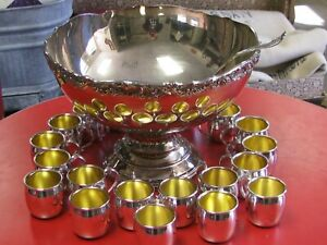 Vintage F B Rogers Silver Plate Punch Bowl Set W 20 Cups Ladle