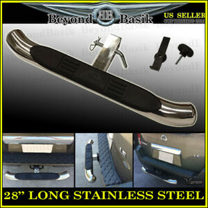 28 Long 3 Round Stainless Steel Hitch Step Bumper Guard For 2 Receivers