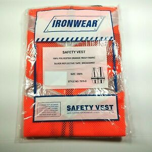 Ironwear Breakaway Safety Vest Orange Mesh Fabric W Silver Reflective Tape