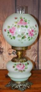 Vintage Antique Glass Gwtw Parlor Table Oil Lamp Green Pink Rose 20 T Ele
