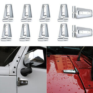Chrome Exterior Door Hinge Cover Hood Hinge Trim For Jeep Wrangler Jk 2007 17