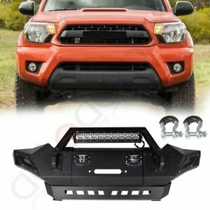 For 2005 2015 Toyota Tacoma Front Bumper Full Guard Black Textured Steel W Light
