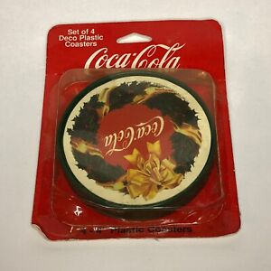 New Vintage Set Of 4 Christmas Coca Cola Coasters 1997