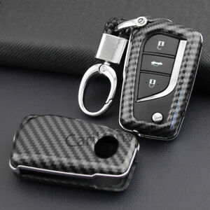 Carbon Fiber Abs Solid New Flip Car Key Keychain Cover For Toyota Camry Ch r
