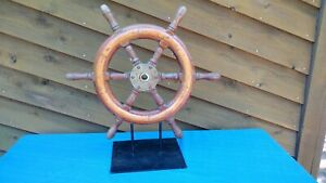 Ships Steering Wheel Antique 3 Different Kinds Of Wood