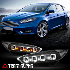 Fits 2015 2018 Focus Quad Halo Projector Sequential Black Clear Led Headlight