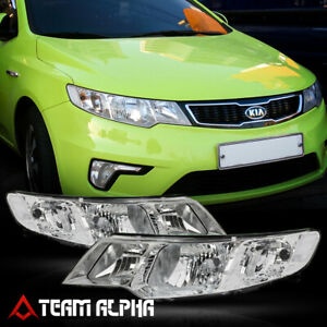 Fits 2010 2013 Kia Forte koup chrome clear Crystal Corner Headlight Headlamp