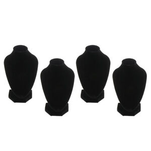 4pcs Black Velvet Necklace Bust Display Shop Chain Jewelry Stand Rack