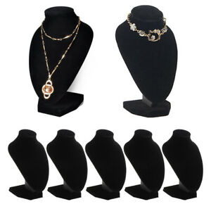 5pcs Black Velvet Necklace Bust Display Stands Jewelry Figure Holder