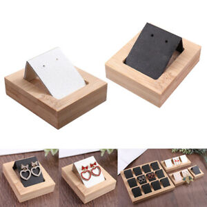 2 Packs Earring Card Holder With Bamboo Tray Showcases Organizer Display