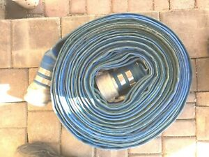 3 X 100 Blue Pvc Lay Flat Water Discharge Hose With C e Cam Lock Fittings Used