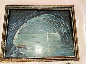 Antique 13 X10 Picture Frame Art Nouveau Gold Blue Bronze Parrish Style