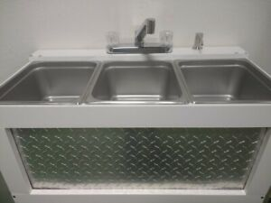 Portable Sink Concession Sink 3 Compartment Sink Large Basin Table Top used