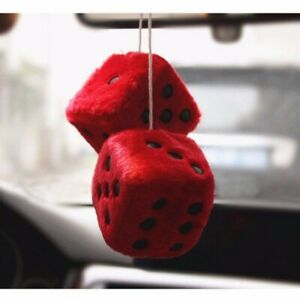 Colorful Plush Dice Car Hanging Decoration Rearview Mirror Pendant Ornaments Usa