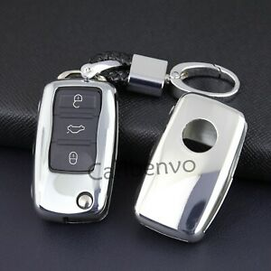 Silver Flip Car Key Keychain Holder Case For Volkswagen Passat Jetta Golf Tiguan