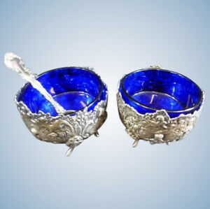 Pair Of Antique Sterling Silver Cherub Salt Cellars Cobalt Blue Glass Inserts