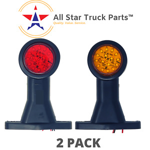2pc Amber Red Led Double Face Rubber Surface Mount Pedestal Fender Truck Light