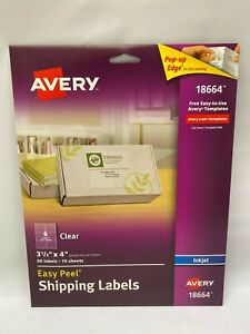 Avery Clear Easy Peel Shipping Labels Inkjet 3 1 3 X 4 60 Labels 18664 New