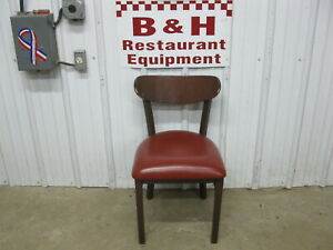 37 Mts Wood Back Brown Metal Frame Commercial Restaurant Chairs W Red Cushions