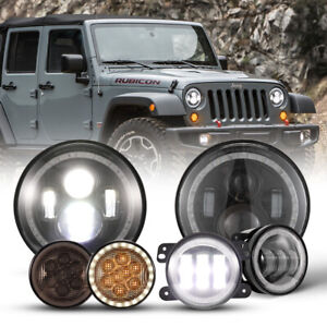 7 Led Headlights 4 Halo Fog Lights Turn Signal Light Set For Jeep Wrangler Jk