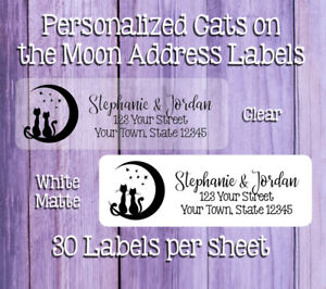 Cats Sitting On Moon Personalized Clear Or Matte White Return Address Labels