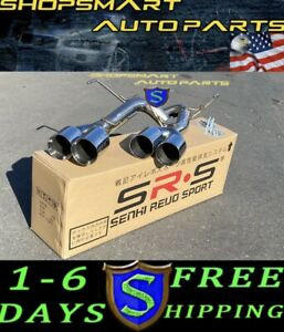 Srs Axleback Quad Tip Exhaust Polish 4 Tips Double Wall For 11 14 Wrx Sti