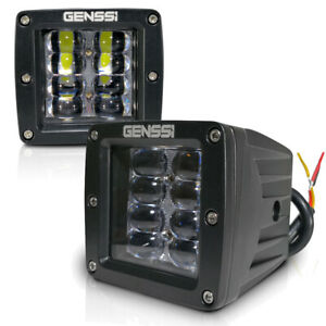Two Led Flood Fog Lights Off Road Dually Truck Motorcycle 4x4 Atv Driving Strobe