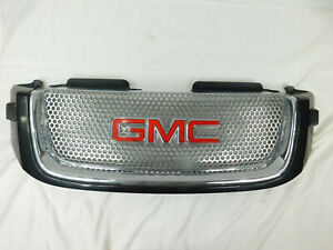 2005 2009 Gmc Envoy Denali Chrome Circle Mesh Oem Front Grill Washers Gray Trim