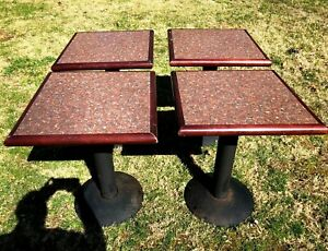 Set Of 4 Restaurant Grade Tables Mts Seating 2 Person Type Wood Formica Steel