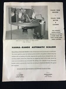 Vintage Hana ramos Model D 2 Chicken Poultry Automatic Scalder Sell Sheet