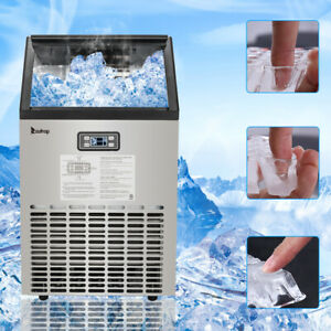 Commercial Ice Maker 99lbs Silver Freestand Under Counter Ice Cube Machine Us